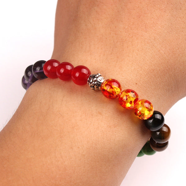 (FREE! LIMITED TIME OFFER!) Hand Made With Real Stone - 7 Chakra Bracelet (MULTIPLE STYLES) - The Gorillas Den