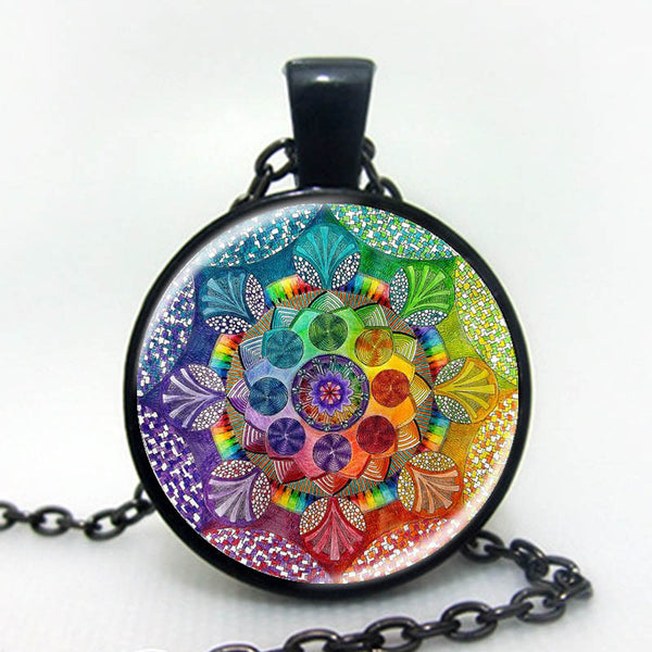 The Secret Code of Life Glass Pendant - 3 Metal Color Variations