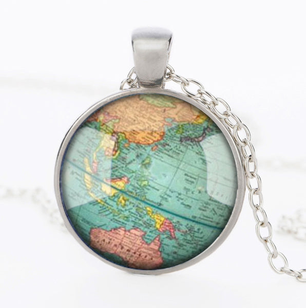 Vintage School Map Glass Mounted Necklace