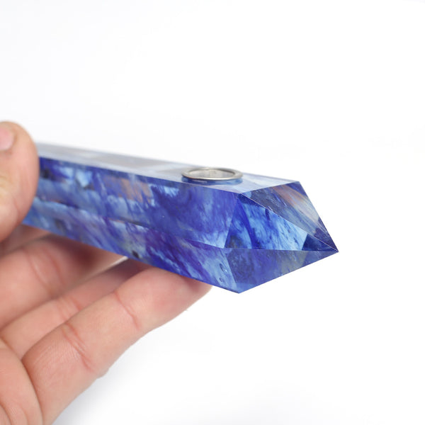 THE SPIRITUAL HIGHLIFE - ORGANIC BLUE MELTING BASEBALL BAT STYLE CRYSTAL PIPE (8 inches)