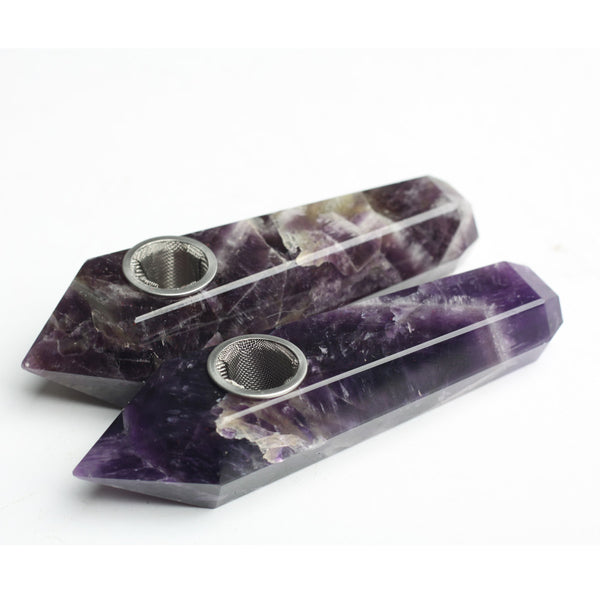 THE SPIRITUAL HIGHLIFE - ORGANIC DREAMING AMETHYST CRYSTAL PIPES (HIS & HERS 2 Pack)