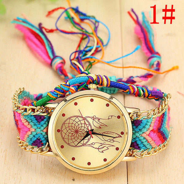 (FREE!) Dream Catcher Hand Knitted/Braided Watch - 8 Different Pattern Options - The Gorillas Den