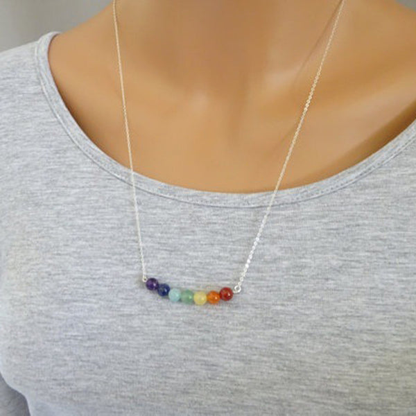 (FREE) 7 Chakra Necklace- Natural Precious Stone - The Gorillas Den