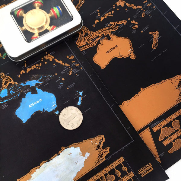Scratch-off-where-you've-been map (The Black Edition w/ Copper foil) - The Gorillas Den