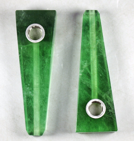 The Green Lantern - Flat Head Organic Fluorite Stone Pipe - The Gorillas Den
