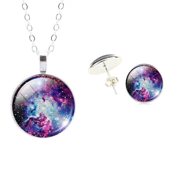 The Colors of the Galaxy 3D Glass Pendant and Matching Earring Set (FREE!!) OVER 15 Different Styles!! - The Gorillas Den