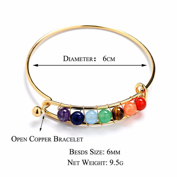 7 Colors of The Chakra Bangle Bracelet - Gold/Silver Dipped - The Gorillas Den