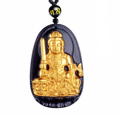 8 Guardian Buddhas of The Zodiac Necklace - Hand Made W/ Organic Obsidian and 24K Gold - The Gorillas Den