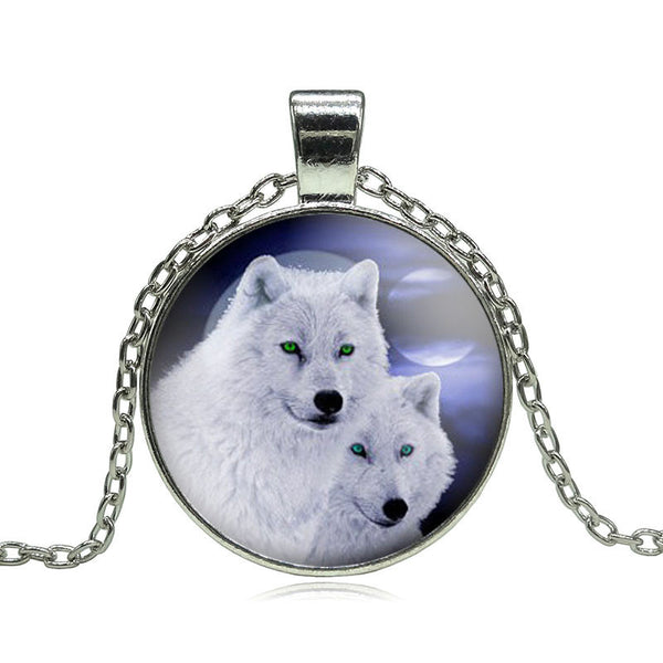The Howling Wolf Glass Pendant Necklace - The Gorillas Den