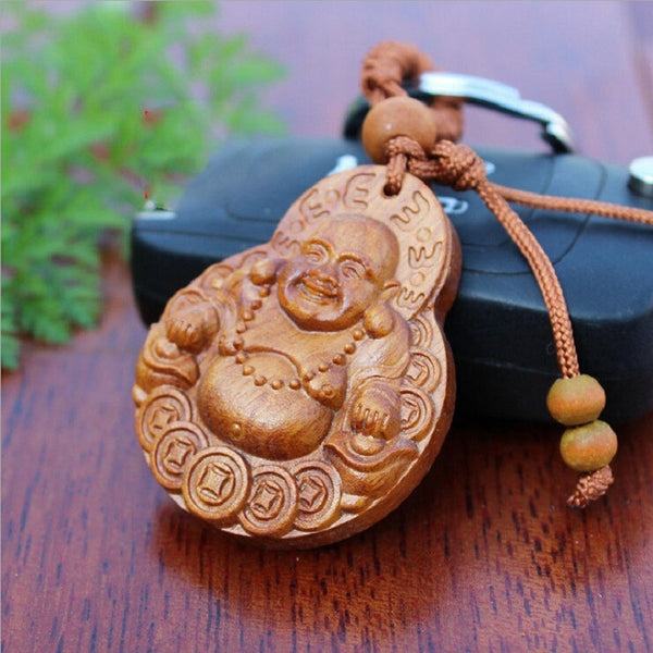 Hand Carved Rosewood Buddha (The God of Laughter) - The Gorillas Den