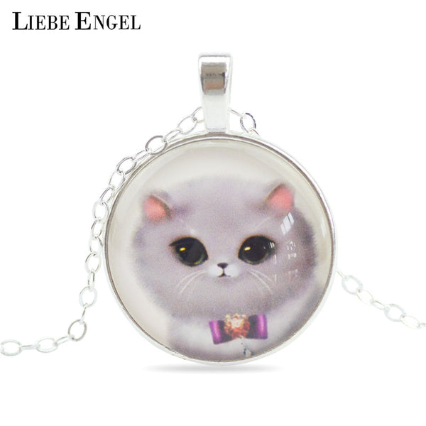 Adorable Kitty Glass Pendant - The Gorillas Den