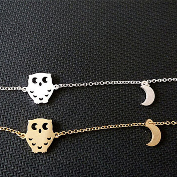 Dainty Half Crescent Moon Owl Pendant-Gold/Silver Plated - The Gorillas Den