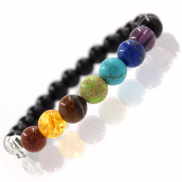 (FREE!) 7 Chakras of Life Elephant Bracelet - Real Precious Stone and Silver - The Gorillas Den