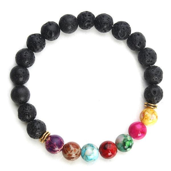 2016 New Natural Black Lava Stone Bracelets 7 Reiki Chakra Healing Balance Beads Bracelet for Men Women Stretch Yoga Jewelry - The Gorillas Den
