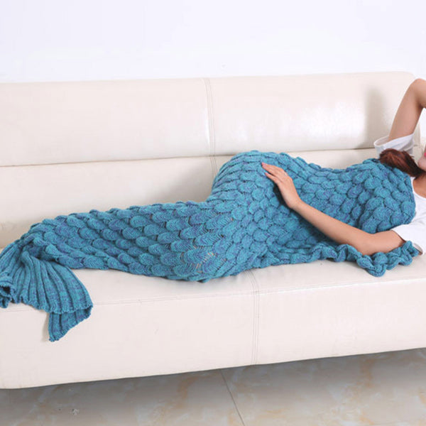 Mermaid Blanket W/ Fish SCALES - Hand Bloom W/ Organic Bamboo Fiber (BLUE) - The Gorillas Den