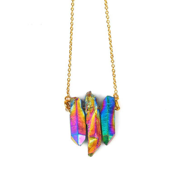 RainBow Trinity Aura Quartz Necklace - The Gorillas Den