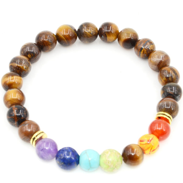Mens Bracelets 7 Chakra Healing Reiki Prayer Natural Stone Beads Bracelet Balance Yoga Bracelet Jewelry - The Gorillas Den