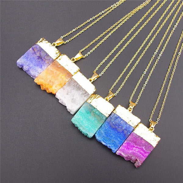 (CLEARANCE!) Solar Powered Organic Popsicle Quartz Necklace - 24k Gold Dipped - The Gorillas Den