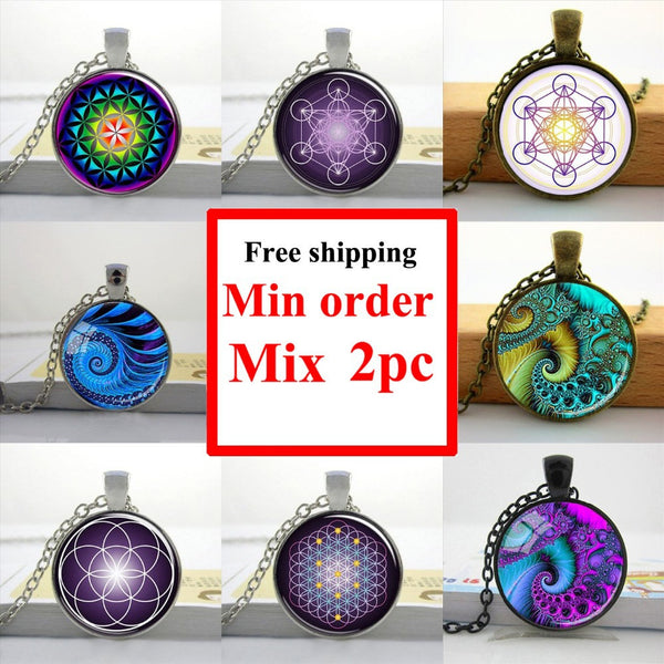Wholesale Picture Necklace Flower of Life Pendant Chakra Necklace Sacred Geometry Jewelry Art Glass Cabochon Necklace