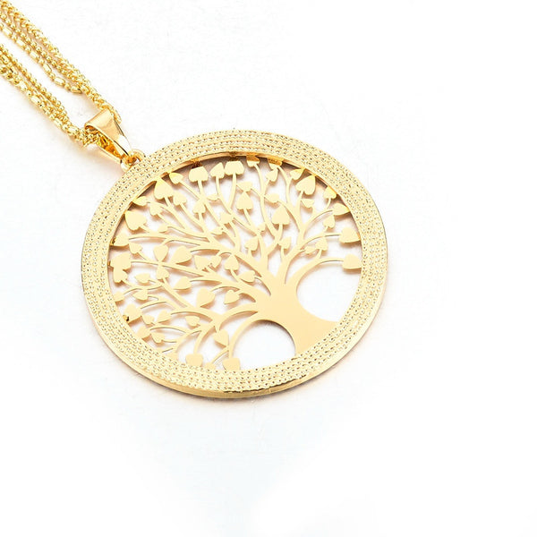 Crystal Encrusted Tree of Life Necklace - Pure Gold/Silver - The Gorillas Den