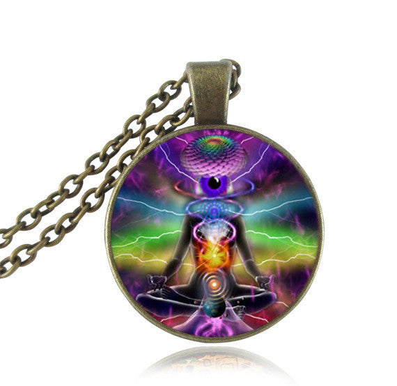 The Wheel of Life 3D Glass Necklace (8 styles)