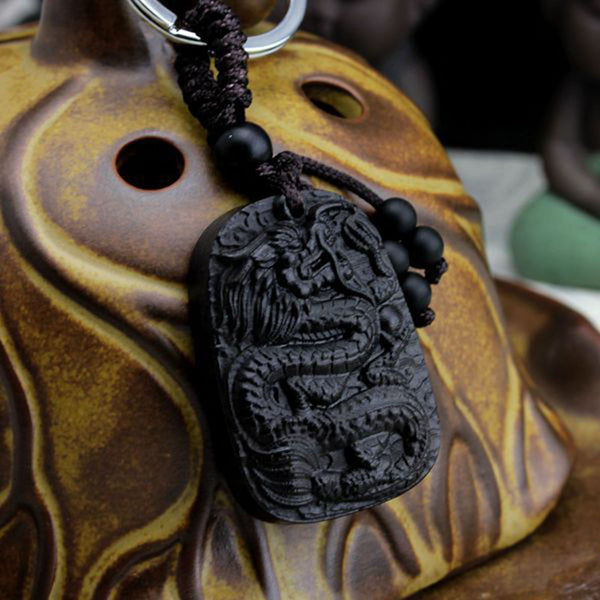 The Wood Of The Gods Protective Dragon - Keychain