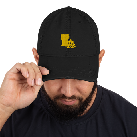 "Distressed Hat ""Black"" - LA print (Gold)"
