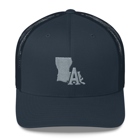 LA- Trucker Cap, Grey Embroidery