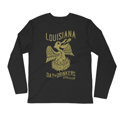 Tee Shirt- Day Drinkers Pelican, NOLA GOLD,  Long Sleeve