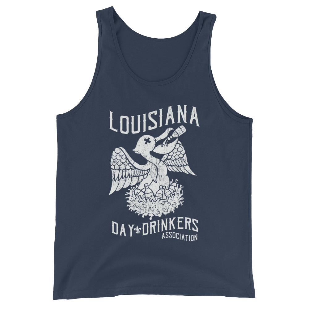 Tank Top - White Print, Pelican, Heather Navy