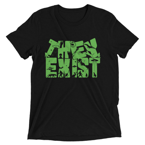 Tee Shirt - They Exist, Green Print