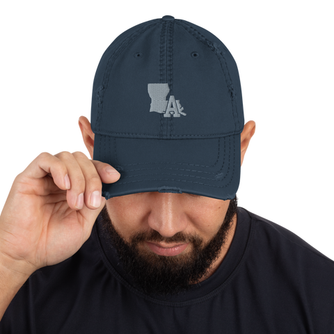 Distressed Hat Navy Blue - LA print (Grey)