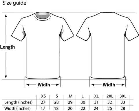 Royal Tease Clothing sizing chart for Men's T-shirts. The measurements are in inches. Please check your size before placing your order.