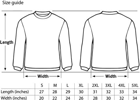 Royal Tease Clothing sizing chart for Sweatshirts. The measurements are in inches. Please check your size before placing your order.