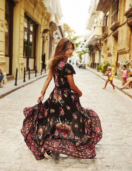 Boho Vintage Floral Tassel Summer Dress