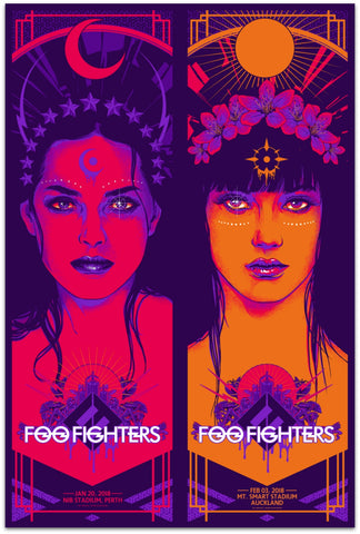 "Foo Fighters - Auckland & Perth 2018 ""Solar & Lunar Goddess"" Uncut Double Limited Edition Print - Pre-Order"