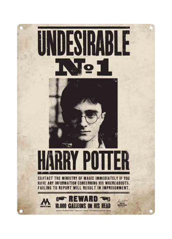 Harry Potter - Undesirable No. 1 Small A5 Tin Sign