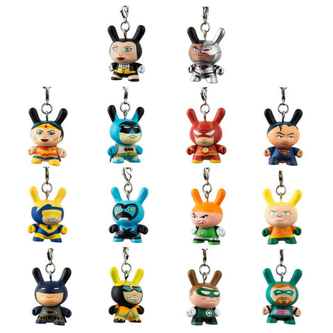 Justice League - Dunny Vinyl Keychain Mystery Mini Figures: Case of 24 Blind Boxes