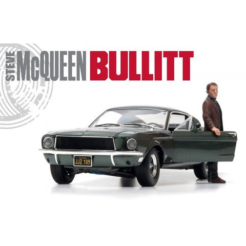 Bullitt - 1968 Ford Mustang GT Fastback with Steve McQueen Figure - 1:18 Scale Vehicle