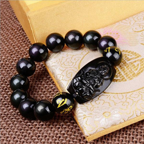 Natural Obsidian Eight Patron Zodiac Bracelet