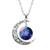 Futuristic Hollow Moon & Galaxy Necklace