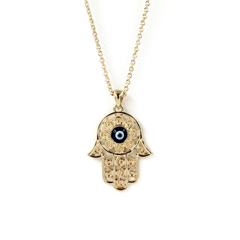 Gorgeous Hand of Fatima Blue Evil Eye Necklace