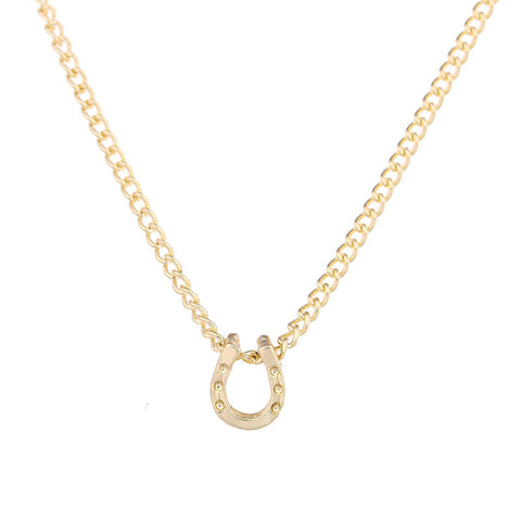 Gold Dipped Horseshoe Pendant Necklace