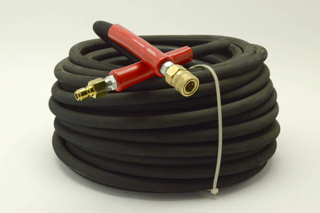 Pressure washer hose, 6000psi, 100ft, black, w/ quick connects