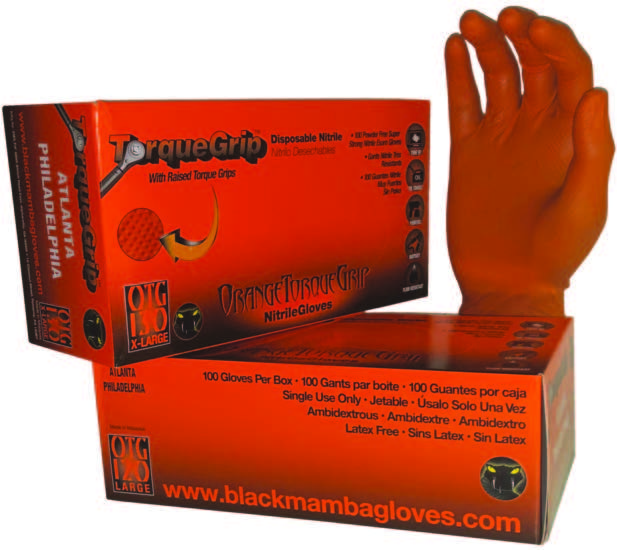 Orange Torque Grip Nitrile Gloves
