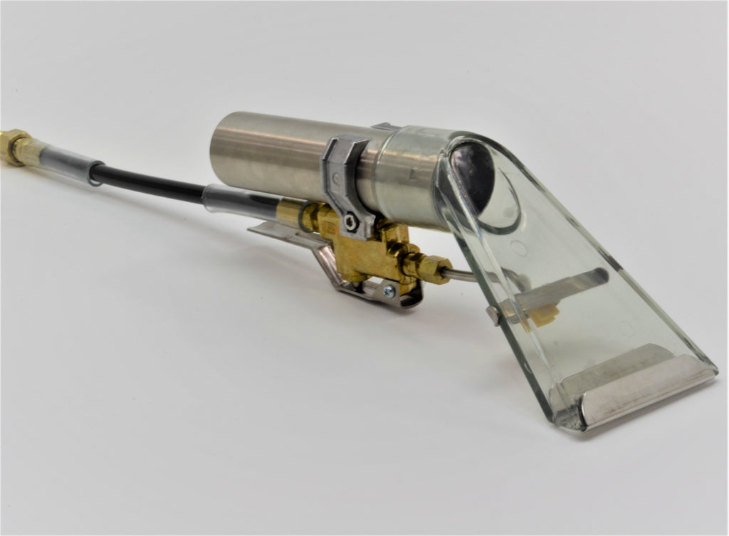 3-1/2' Detailer Wand, Clear Plastic, Brass Valve, stainless steel glides, whip hose and QC