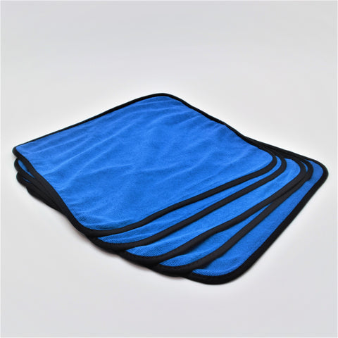 16X16 Premium Pearl Weave Micro Fiber Towel, Blue with Silk Edge, (Dozen)