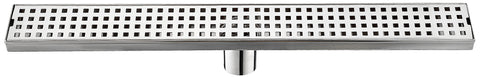 Linear Shower Drain Grate with Removable Square Pattern 24 Inch Stainless Steel