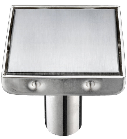 Linear Shower Drain with Square Tile Insert Grate 6 Inch Stainless Steel