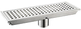 Linear Shower Drain with Tile Insert Grate Premium 304 Stainless Steel Set (Brushed Nickel)